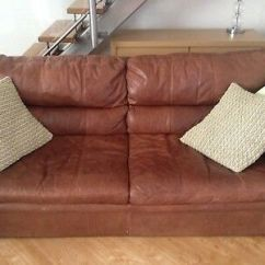 Leather Sofa Brown Dfs Dove Grey 2 Seater And Fabric Mix Used But Good Condition 3