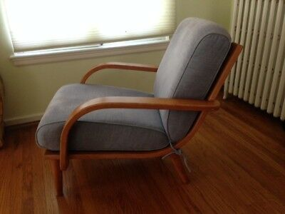 modern ball lounge chair folding chairs for sale cheap vintage conant mid century club arm wood upholstered