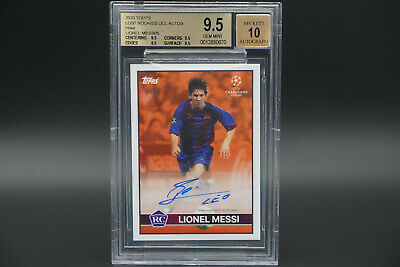 BGS 9.5 Lionel Messi AUTO 10 Lost Rookie UCL 2020 Topps Soccer RC Gem Mint /5