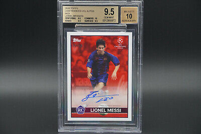 BGS 9.5 Lionel Messi AUTO 10 Lost Rookie UCL 2020 Topps Soccer RC Gem Mint /10