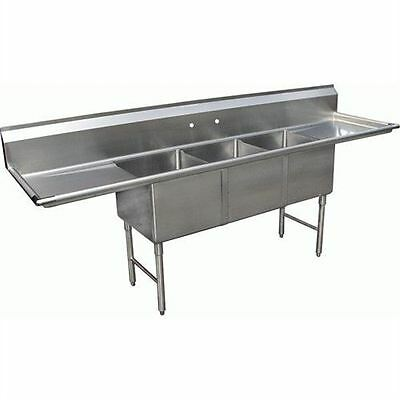 commercial kitchen sink ikea pantry cabinets california cooking 3 compartment with 2 drainboards