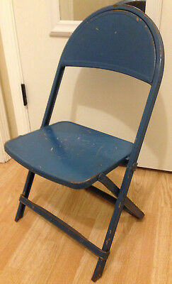 blue metal folding chairs winter wonderland chair covers vintage kids distressed durham rusty old country