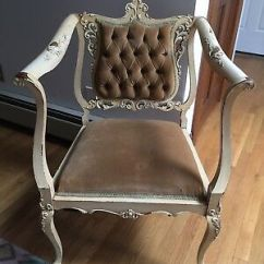 French Velvet Chair Children S Seat Cushions Antique Louis Xv Provincial Tufted Carved Burlap And Straw