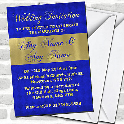Royal Blue And Glitter Look Gold Wedding Invitations