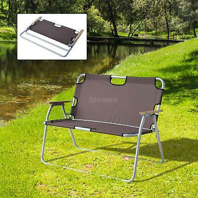 2 person camping chair high back rocking folding aluminum love seat brown o3n7