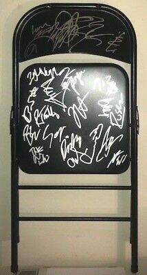 steel chair in wrestling luxury high chairs for babies wwe signed autographed coa proof daniel bryan roster full size miz aj styles hardy