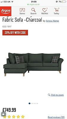 argos ava fabric sofa review 3 seat sleeper slipcover set 100 00 picclick uk home kayla left corner charcoal only two year s old