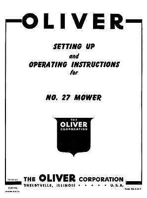 OLIVER NO 82 SICKLE BAR MOWER OPERATORS INSTRUCTIONS