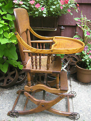 antique wicker chairs inexpensive folding primitive baby high chair rocker stroller cast iron 11 of 12 toy wheels