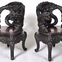 Antique Chinese Dragon Chair Office Kuwait Pair Fine Carved Rosewood Qing Dynasty Export Chairs 1890