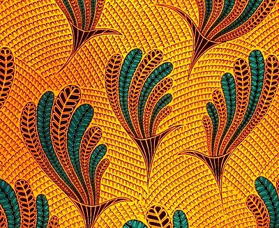 African fabric - gold peacock design