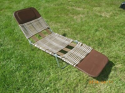 vinyl folding lawn chairs high back dining chair slipcovers vintage lounge beach tube gold white metal chaise reclining brown
