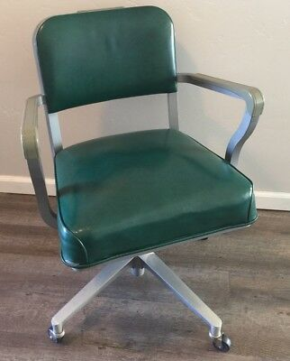 steelcase vintage chair desk with arms and wheels mid century office furniture
