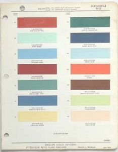 Oldsmobile ppg color paint chip chart all models original also chevy colors usa made rh picclick