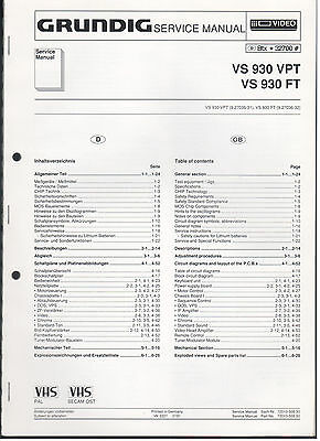 SERVICE MANUAL GRUNDIG VS 600 / VS610 Video, Genuine