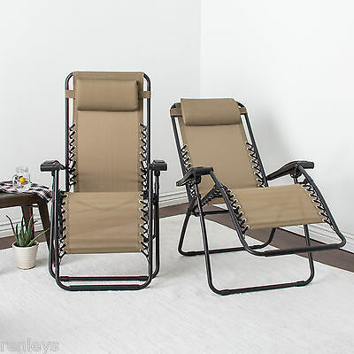 zero gravity chair 2 pack lightweight lawn chairs fold reclining camping armrest headrest outdoor patio