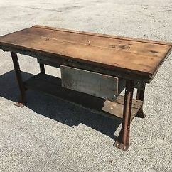 Kitchen Workbench Granite Rustic Vintage Antique Industiral Island Table Desk Iron Wood