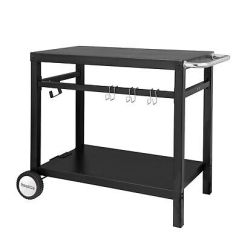 Outdoor Kitchen Storage Cart Small Sink Royal Gourmet Bbq Work Table Prep Trolley Black