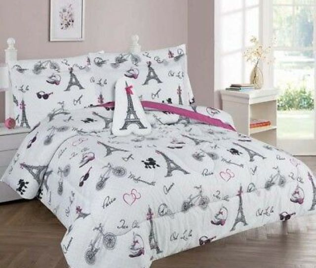 White Black Pink Paris Eiffel Tower Complete Bed Comforter Set For Girls Teens