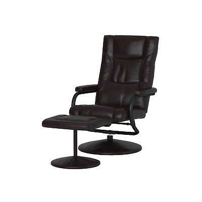 leather swivel recliner chair and ottoman white barber luxury brown plush lounge furnish set