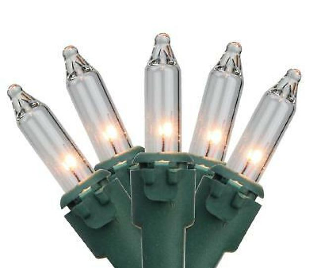 Northlight Set Of  Clear Mini Christmas Lights  In Spacing Green Wire