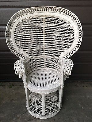 rattan peacock chair royal rolling chairs atlantic city vintage white wicker high fan back chicago local pick up