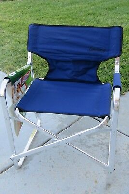 coleman portable deck chair butterfly folding with side table outdoor camping free blue oversized shipping new