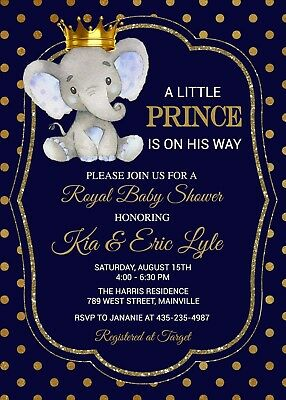 Elephant Prince Baby Shower Invitation Boy