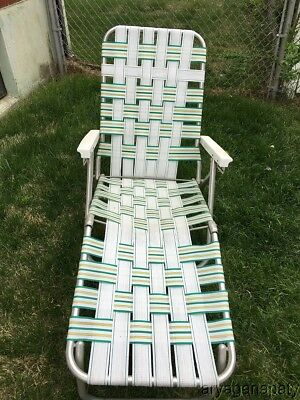 webbed chaise lounge chairs desk chair uk sale vintage aluminum folding lawn w wood camping patio tailgate