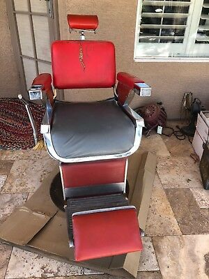 belmont barber chair parts canada rattan cushions replacement vintage 1950 s red 1 650 00 picclick 1960 classic reclining chrome porcelain steampunk