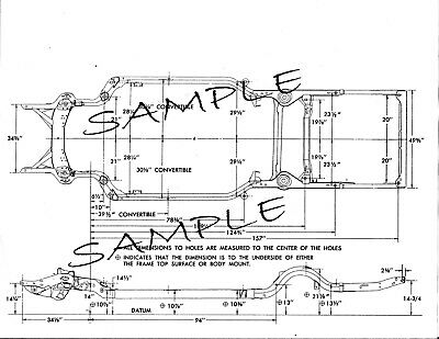 57 58 59 60 Ford Truck NOS Frame Dimensions Align Specs