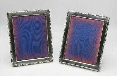 Pair matching solid silver photo picture frames velvet backing 1989 Birmingham
