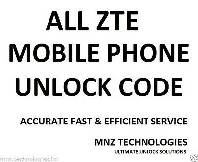 UNLOCK CODE All Networks For ZTE Blade3 Kis 3 Z222 Z790