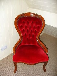 Vintage Nursing Chair/ Red Buttoned Spoon
