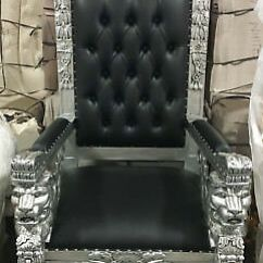 Black Gothic Throne Chair Rocker Recliner Carved Mahogany King Winged Lion Silver Finish Vinyl
