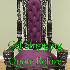 Black Gothic Throne Chair Slip Covers Walmart Carved Mahogany King Lion Finish With Purple Velour 6