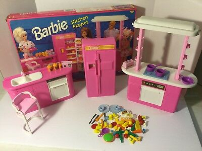 barbie kitchen playset fork vintage 1992 mattel littles food accessories refrigerator