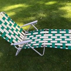 Webbed Chaise Lounge Chairs Floor With Back Support Vintage Folding Aluminum Lawn Chair Green White