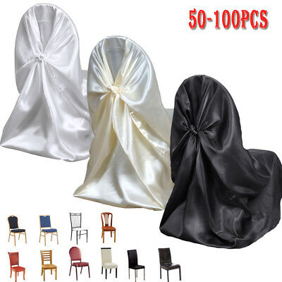 bulk satin chair covers coleman accessories 10 universal wedding party ceremony discounted 50 100 fabric tie back self deco