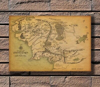 rings middle earth map poster
