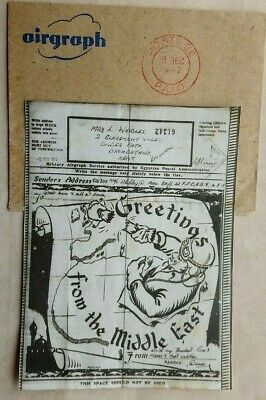 Egypt 1942 Illustrated Christmas Greetings Airgraph Royal Air Force + Envelope