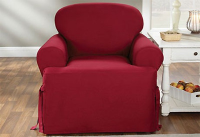 chair slipcover t cushion world market outdoor chairs cotton duck one piece 19 95 picclick