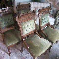 Eastlake Victorian Parlor Chairs Adec Performer Chair Parts Set Of 4 Antique Walnut Heavy Rolled Carved Top