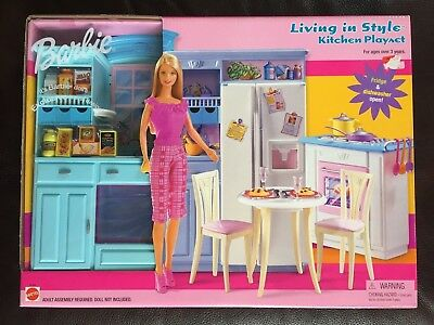 barbie kitchen playset ikea hutch mattel doll 2002 living in style sealed