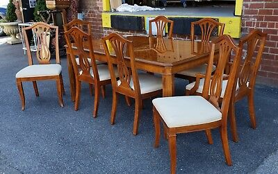 drexel heritage chairs wheelchair zinger 1990s yorkshire collection yew wood dining table w 8