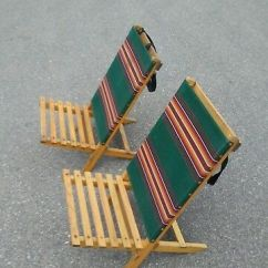 Canvas Beach Chair White Armless Vintage Wood Folding Chairs 19 99 Picclick