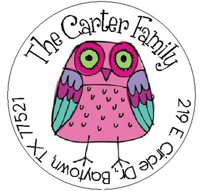 whimsical pink owl round