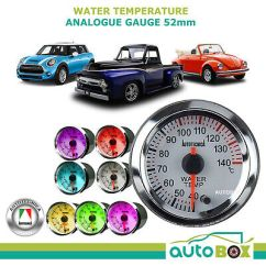 Autotecnica Water Temp Gauge Wiring Diagram Best House 52mm Temperature 40 120 Deg C 4 Colour Display Saas White Face Electronic Analogue 12v