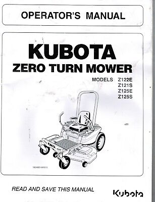 KUBOTA Z122E, Z121S, Z125E, Z125S Mower Workshop Service