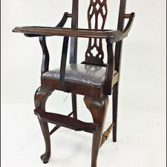 Vintage Wooden High Chair Covers For Headrest Wood Antique Victorian Queen Anne Child Baby Decor